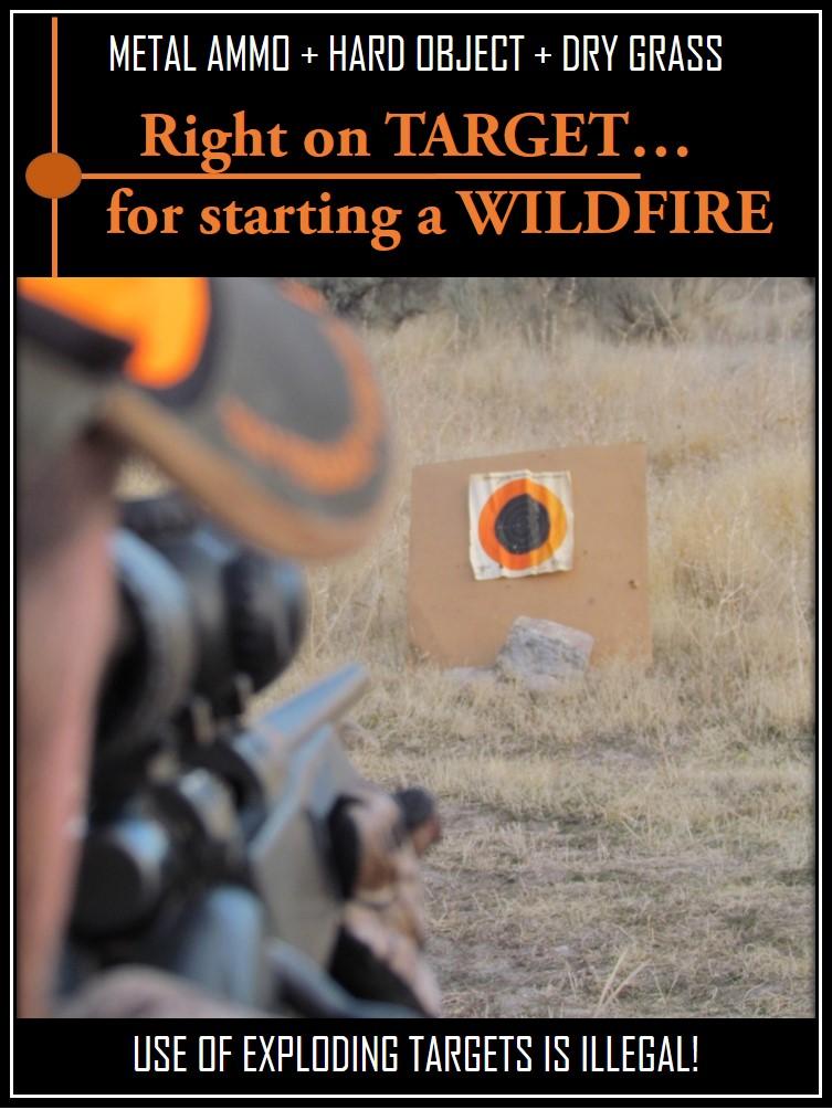 Man shooting at a target. Target shooting can start wildfires.